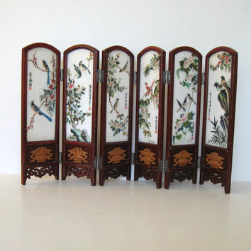 Vintage Porcelain Asian Table Screen, Vintage Collectible, Home and Living, Oriental Art, Home Decor,
