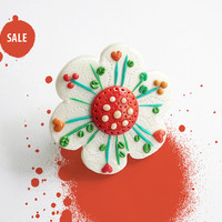 "SALE 40% OFF / Fun Jewelry / OOAK flower ring, handmade polymer clay statement ring / ""Flower Power"" /"