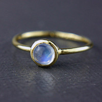Moonstone Gold Ring 14k Yellow Gold Rainbow Moonstone Gold Ring Size 6 Rainbow Moonstone Engagement Ring