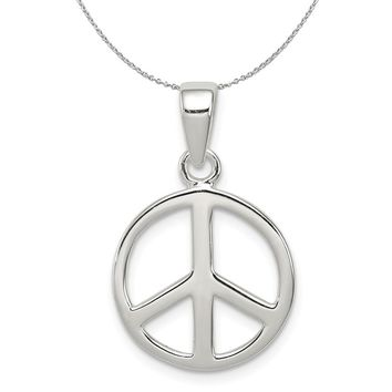 Sterling Silver 16mm Polished Peace Symbol Necklace