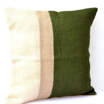 Green Pillow - Burlap Pillow color block - Green Decorative cushion covers - Throw pillows - gift 18X18 - Green Euro Sham - Couch pillow