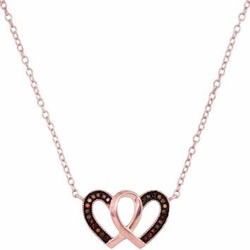 10k Rose Gold Women's Red Diamond Heart Necklace - FREE Shipping (US/CA)
