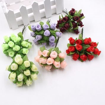 12pcs/lot Artificial Flower 2cm Silk High Quality Rose Bouquet Wedding Decoration DIY Wreath Gift Box Clip Art Flower
