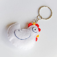 Chick felt key ring, white, red, yellow