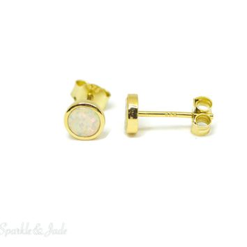Sterling Silver 14k Yellow Gold Plated 6mm Created White Opal Earrings