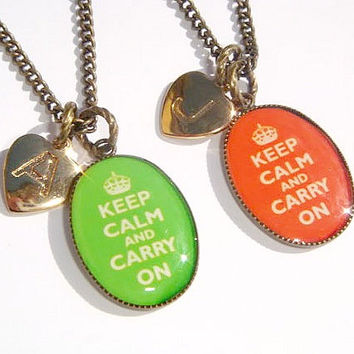 Keep Calm And Carry On Necklace - Cameo Pendant - Initial Jewelry - Personalized Necklace - Kids Jewellery - Tweens Necklace - Initial Heart