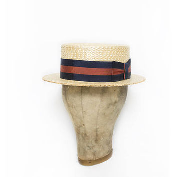 Vintage Boater Hat - Straw DOBBS mad in Italy 1920s - Sz 7