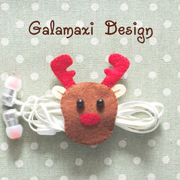 Handmade Felt Christmas Reindeer Earphone Cord Organizer Felt Cable Keeper Reindeer Earphone Holder Earphone Wire Keeper Cable Catch