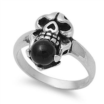 925 Sterling Silver Black Stone Skull Biker Ring 22MM Onyx