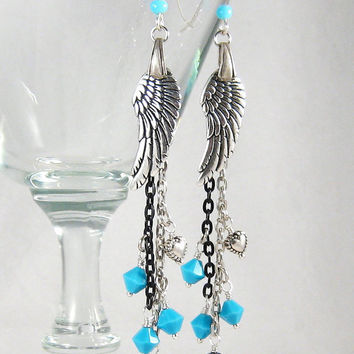 Angel Wings Earrings Turquoise Crystals Silver Black Tassel Fashion Jewelry