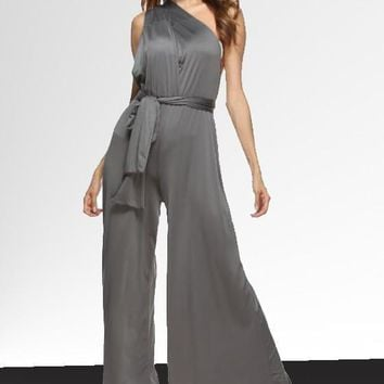 Grey Irregular Sashes Backless Draped Loose Long Jumpsuit