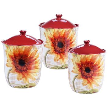 Certified International Paris Sunflower 3-pc. Kitchen Canister Set