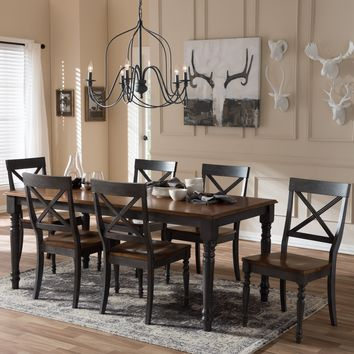 "Baxton Studio Rosalind Shabby Chic Country Cottage Weathered Dove Grey and ""Oak"" Brown 2-Tone Finishing Solid Wood Top 7-Piece Dining Set  Set of 1"