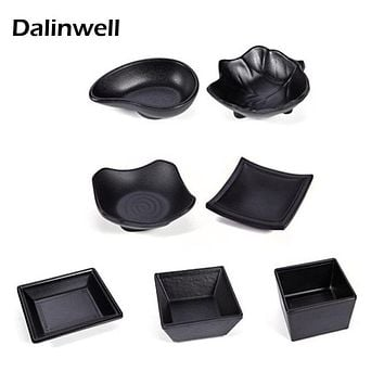 2017 New Korean Solid Black Melamine Soy Sauce Bowl Plate Tempura Dish Saury Tray Serving Platter KTV Food Dishes For Restaurant