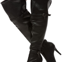 Black Faux Leather Over the Knee High Heel Boots
