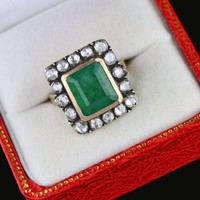Antique 14K Gold Diamond Halo Emerald ring