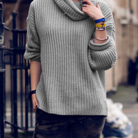 Grey Cowl-Neck Ribbed Sweater