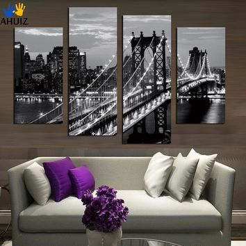 Modern Art New York City Canvas Prints Cityscape Artist Canvas - Stretched 4 Piece/Set