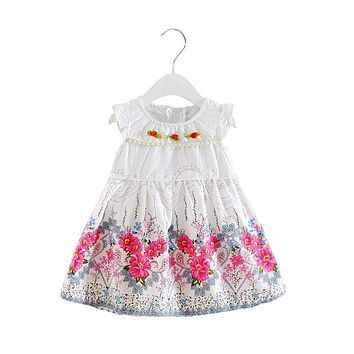 Baby girls summer dress kids toddler new fashion cotton tutu dresses baby birthday party dress infant girls clothing
