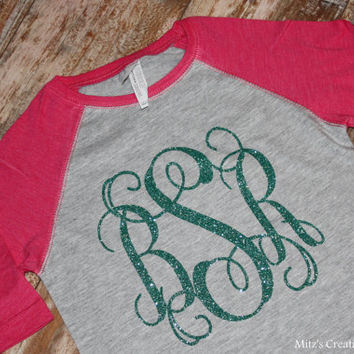 Toddler/Youth Baseball Tee with Glitter Monogram - Pick your colors