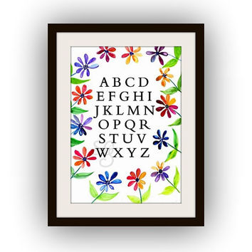 Alphabet letters, Printable Wall Art, watercolor painting, floral Picture print, kids room poster, decal, alphabets decals, nursery decor
