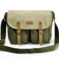 "ZLYC Retro Mens Casual Canvas Leather Handbag Satchel Messenger Single Shoulder Bag Bookbag Fits iPad Air or 11"" Laptops Green"