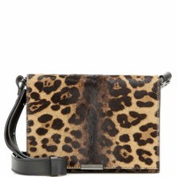 Mini leather and calf hair shoulder bag