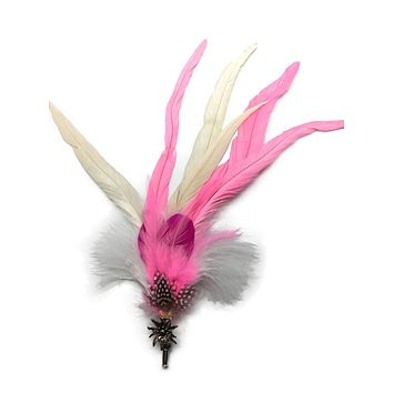 Deluxe German themed Hat Pin with Pink & White Feathers