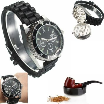 Men'S Metallic Black Color Herbs & Spices Grinder Watch 0907-93