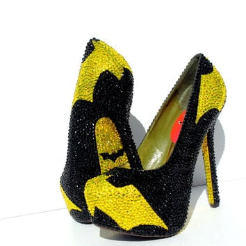 All Crystal BATMAN Heels with crystal soles