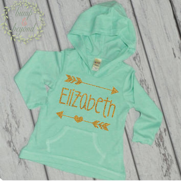 Hipster Baby Clothes Baby Girl Clothes Personalized Name Shirt Hoodie Gold Glitter Arrow Custom Toddler Hipster Shirt 019