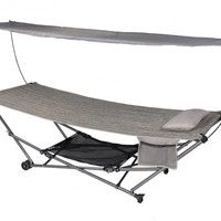 Patio Bliss STOW-EZ Portable Hammock and 4 pt. Stand w\Canopy - Platinum