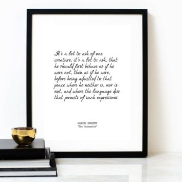 'A Lot To Ask' Typographic Art Poster Print, SAMUEL BECKETT Poem