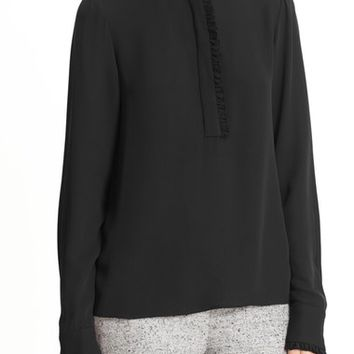Theory 'Eilliv' Classic Georgette Ruffle Trim Blouse | Nordstrom