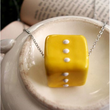 Retro Yellow Cube Necklace by sodalex on Etsy