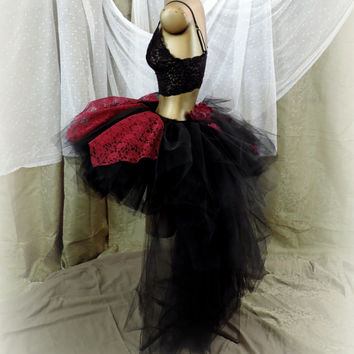 Adult tutu, high low tutu skirt, bustle tutu skirt, goth gothic tutu skirt, steampunk tutu, Halloween costume, black and wine red tutu