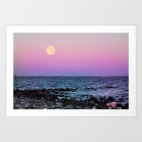 Full Moon on Blue Hour Art Print by tanjariedel