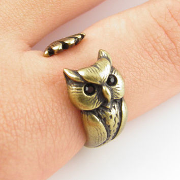Animal Wrap Ring - Owl - Bronze - Adjustable Ring - keja jewelry