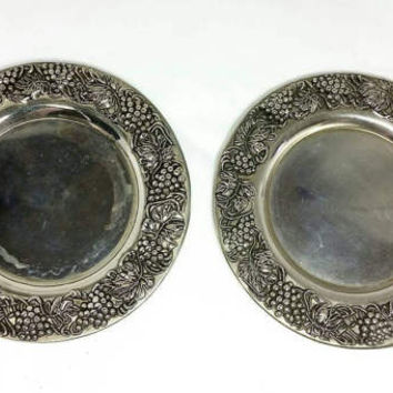 Vintage Silver Plated Wine Bottle Coasters/GSA Godinger Silver/Grapevine Candle Holders (set of two)