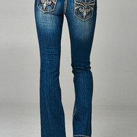 Medium denim faded bootcut jeans with backflap pockets