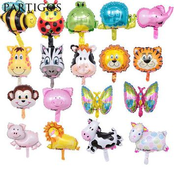 DCCKF4S 8pcs Mini Animal Foil Balloons Lion & Monkey & Zebra & Deer & Cow Animal Head Air Balloon birthday party Decor Toys Supplies