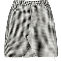 Gingham Check Denim Mini Skirt | Boohoo
