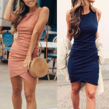 Solid Color Irregular Round Neck Sleeveless Dress