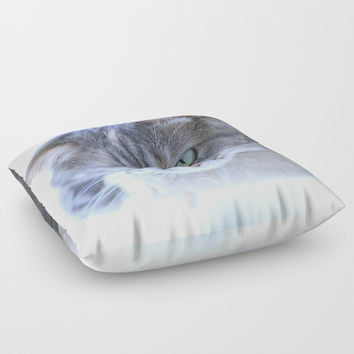 Aqua Eyes Floor Pillow by Theresa Campbell D'August Art