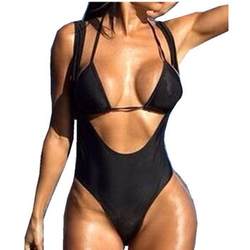 Thong Bikini One Piece Swimsuit Women Swimwear Female One-Piece swim suit Pad Biquini 2017 Plavky Sexy Beachwear Bodysuit H001