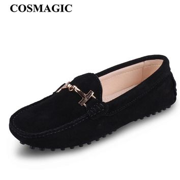 COSMAGIC New Suede Leather Women Flats 2018 Spring Metal Chains Driving Loafer Candy Color Soft Slip on Moccasin Boat Shoes