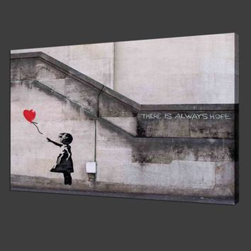 (Unframed, Print Only) Canvas Print for Home Decoration Room Wall Art Banksy Girl Wall Pictures For Living Room