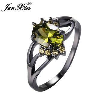 JUNXIN Classic Peridot AAA Zircon Stone Ring Black Gold Filled Wedding Engagement Party Rings For Women Lady Best Friend Gift