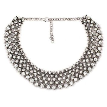 LMFLD1 2018 New Luxury Rhinestone Necklaces Women Lady Crystal Jewelry Accessories Charm Choker Statement Bib Collar Chain Necklace