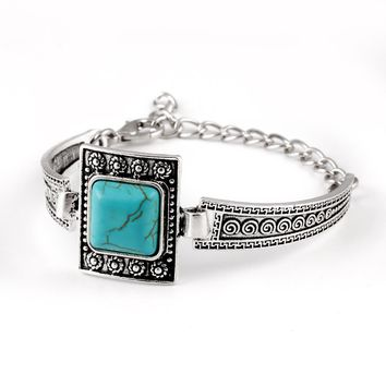Vintage Plated Turquoise Chain Bracelet